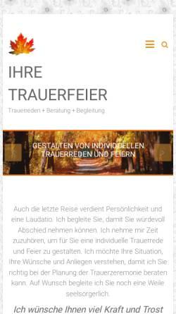 Vorschau der mobilen Webseite www.ihre-trauerfeier.de, Hermann Sattler