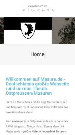 Vorschau der mobilen Webseite www.masure.de, Masuren, gestern und heute