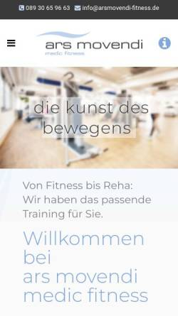 Vorschau der mobilen Webseite arsmovendi-fitness.de, Ars movendi medic fitness