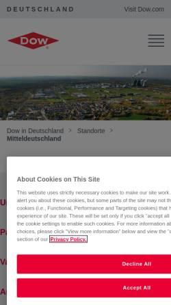 Vorschau der mobilen Webseite www.dowmitteldeutschland.de, ValuePark - Dow Olefinverbund GmbH