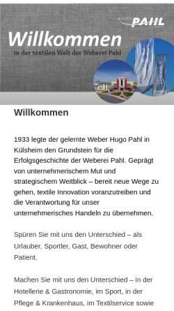 Vorschau der mobilen Webseite www.weberei-pahl.de, Weberei Pahl GmbH