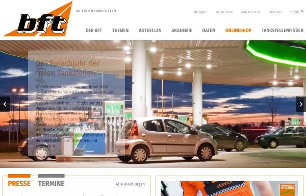 Vorschau von www.bft.de, Bundesverband Freier Tankstellen e.V.