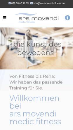 Vorschau der mobilen Webseite arsmovendi-fitness.de, Ars movendi Krankengymnastik