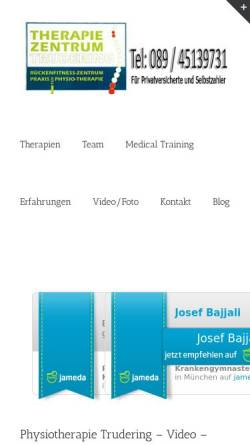 Vorschau der mobilen Webseite physiotherapie-trudering.com, Therapie Zentrum Trudering