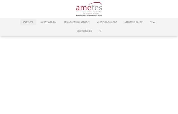 Vorschau von www.ametes.de, Ametes GmbH - Gesellschaft für Arbeitsmedizin und technische Sicherheit