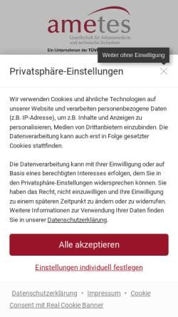 Vorschau der mobilen Webseite www.ametes.de, Ametes GmbH - Gesellschaft für Arbeitsmedizin und technische Sicherheit