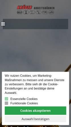 Vorschau der mobilen Webseite www.krueger-arbeitsbuehnen.de, Krüger International Trading GmbH