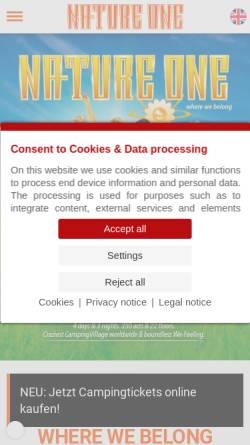 Vorschau der mobilen Webseite www.nature-one.de, Nature One, Mayday, Ruhr in Love, Electric City, Winter World