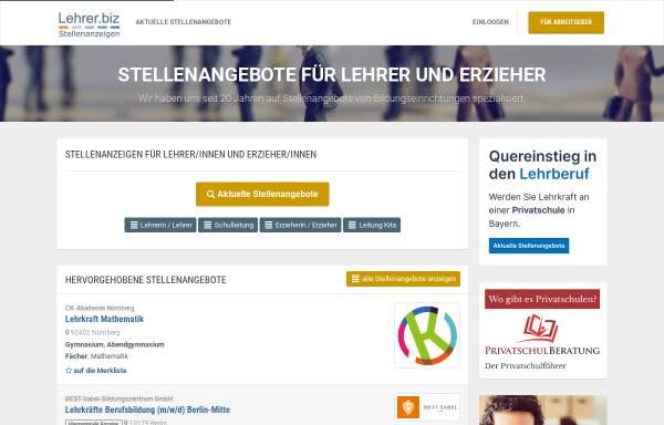Vorschau von www.lehrer.biz, Stellenangebote für Lehrer