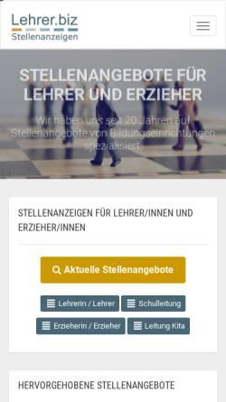 Vorschau der mobilen Webseite www.lehrer.biz, Stellenangebote für Lehrer