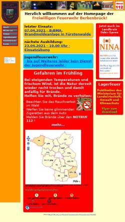 Vorschau der mobilen Webseite www.ff-berkenbrueck.de, Freiwillige Feuerwehr Berkenbrück