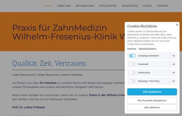 Vorschau von www.zahnarzt-wiesbaden.net, Pröbster, L. Prof. Dr. und B. Dr.