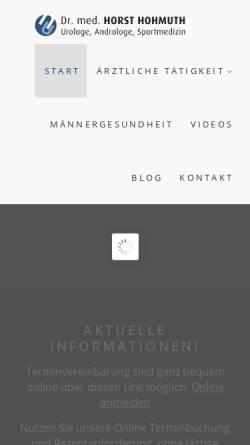 Vorschau der mobilen Webseite www.drhohmuth-urologe.de, Hohmuth, Horst, Dr. med.