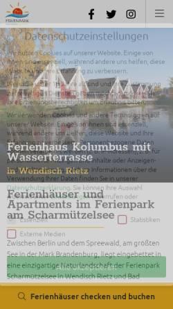Vorschau der mobilen Webseite www.ferienpark-scharmuetzelsee.de, Ferienpark Scharmützelsee Betriebs-GbR