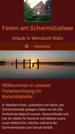 Vorschau der mobilen Webseite ferien-am-scharmuetzelsee.de, Ferienwohnung im Keramikatelier