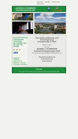 Vorschau der mobilen Webseite www.jahnke-schneider.de, Jahnke & Schneider Dienstleistungsgruppe GbR