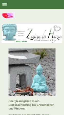 Vorschau der mobilen Webseite www.zentrum-des-herzens.de, Claudia Elisabeth Lisiecki