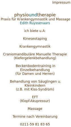 Vorschau der mobilen Webseite www.physioundtherapie.de, Physioundtherapie