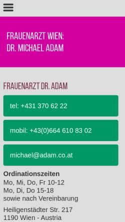 Vorschau der mobilen Webseite www.frauenarzt-wien.com, Dr. Michael Adam, Gynäkologe und Frauenarzt in 1190 Wien