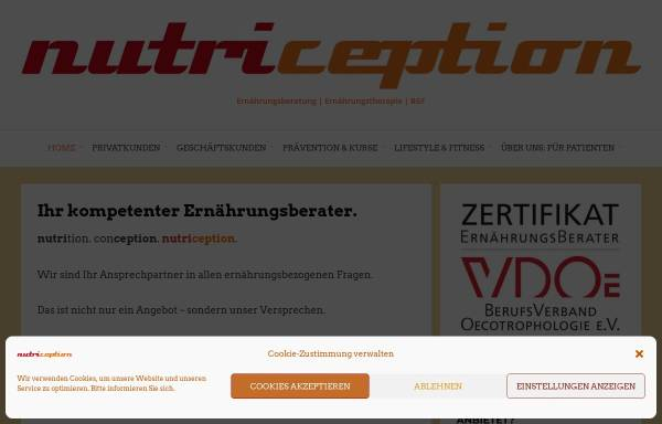 Vorschau von www.nutriception.de, Nutriception - Praxis für Ernährungsberatung und -therapie