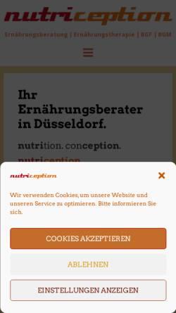 Vorschau der mobilen Webseite www.nutriception.de, Nutriception - Praxis für Ernährungsberatung und -therapie