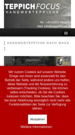 Vorschau der mobilen Webseite www.teppichfocus.de, Teppichfocus, Oliver Schnick