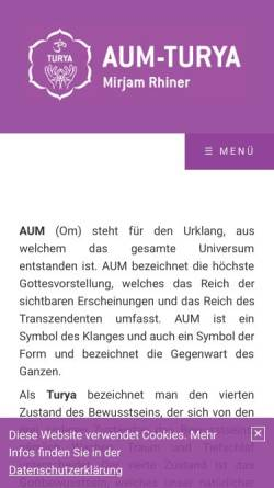 Vorschau der mobilen Webseite aum-turya.ch, Mirjam Brack