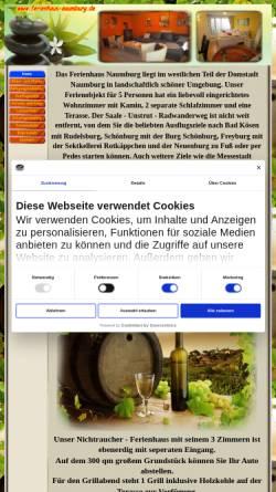 Vorschau der mobilen Webseite www.ferienhaus-naumburg.de, Ferienhaus Naumburg in idylischer Lage an Saale und Unstrut