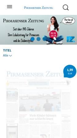 Vorschau der mobilen Webseite www.pirmasenser-zeitung.de, Pirmasenser Zeitung