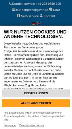 Vorschau der mobilen Webseite www.vnr.de, Verlag für die Deutsche Wirtschaft AG