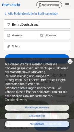 Vorschau der mobilen Webseite www.ferienhaus-berlin.de, Ferienhaus in Reinickendorf - Ulrike Brödler