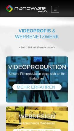 Vorschau der mobilen Webseite www.nanoware-media.eu, Nanoware media GmbH