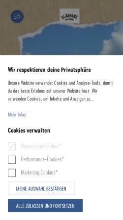 Vorschau der mobilen Webseite www.glaeserne-molkerei.de, Gläserne Meierei GmbH