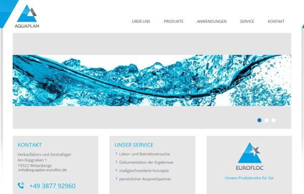 Vorschau von www.aquaplan-eurofloc.de, Aquaplan GmbH, Beratungs- und Handelsgesellschaft für Umweltprodukte