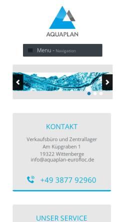 Vorschau der mobilen Webseite www.aquaplan-eurofloc.de, Aquaplan GmbH, Beratungs- und Handelsgesellschaft für Umweltprodukte