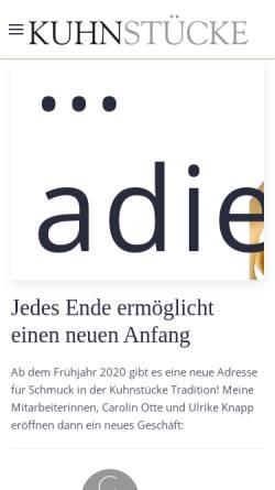 Vorschau der mobilen Webseite www.kuhnstuecke.de, Kuhnstücke - der Goldschmied in Esslingen und Stuttgart