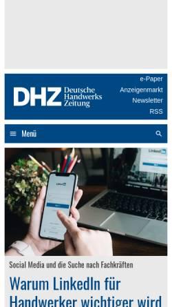 Vorschau der mobilen Webseite www.deutsche-handwerks-zeitung.de, Deutsche Handwerks Zeitung