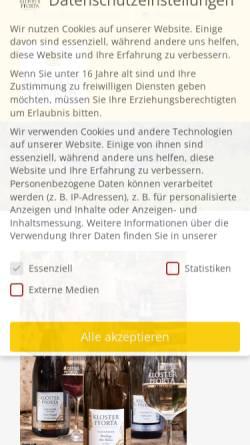 Vorschau der mobilen Webseite www.kloster-pforta.de, Landesweingut Kloster Pforta