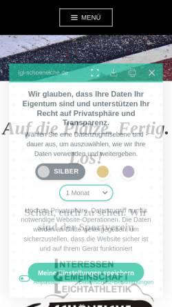 Vorschau der mobilen Webseite www.igl-schoeneiche.de, SV Interessen Gemeinschaft Leichtathletik Schöneiche e.V.