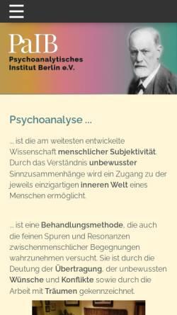 Vorschau der mobilen Webseite paib-dpg.de, Psychoanalytisches Institut Berlin e.V. (PaIB)