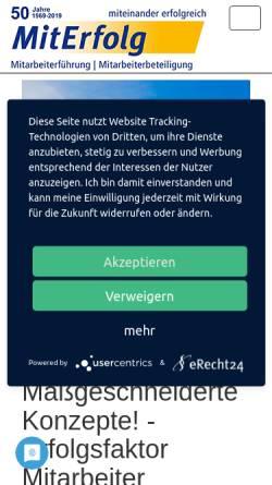 Vorschau der mobilen Webseite www.miterfolg.com, Miterfolg GmbH