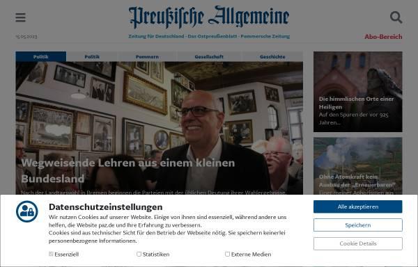 Vorschau von www.preussische-allgemeine.de, Preußische Allgemeine Zeitung