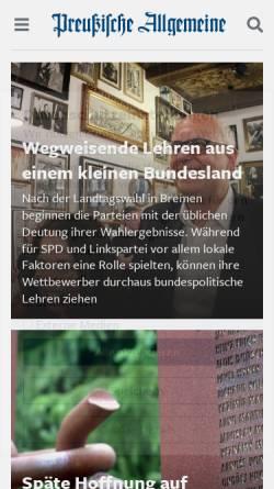 Vorschau der mobilen Webseite www.preussische-allgemeine.de, Preußische Allgemeine Zeitung