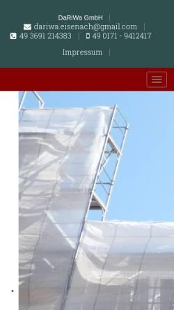 Vorschau der mobilen Webseite www.dachdecker-eisenach.de, DaRiWa GmbH - Dachdeckerei Kuno Gutmann
