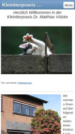Vorschau der mobilen Webseite www.kleintierpraxis-voelzke.de, Kleintierpraxis Dr. Matthias Völzke