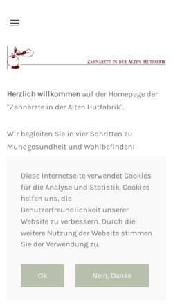 Vorschau der mobilen Webseite www.zap-ll.de, Zahnärzte in der Alten Hutfabrik