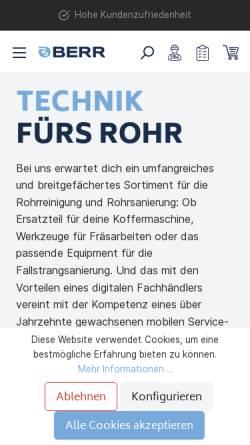 Vorschau der mobilen Webseite www.berr.de, Berr Hochdruck GmbH