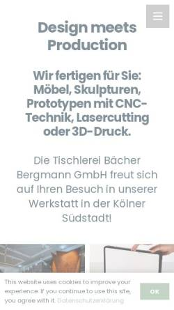 Vorschau der mobilen Webseite www.tischlereibaecher.de, Tischlerei Bächer GmbH