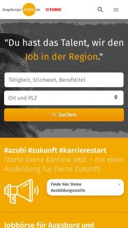 Vorschau der mobilen Webseite augsburgerjobs.de, Augsburger Jobs