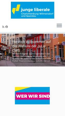 Vorschau der mobilen Webseite www.julis-cws.de, JuLis - Junge Liberale Charlottenburg-Wilmersdorf und Spandau